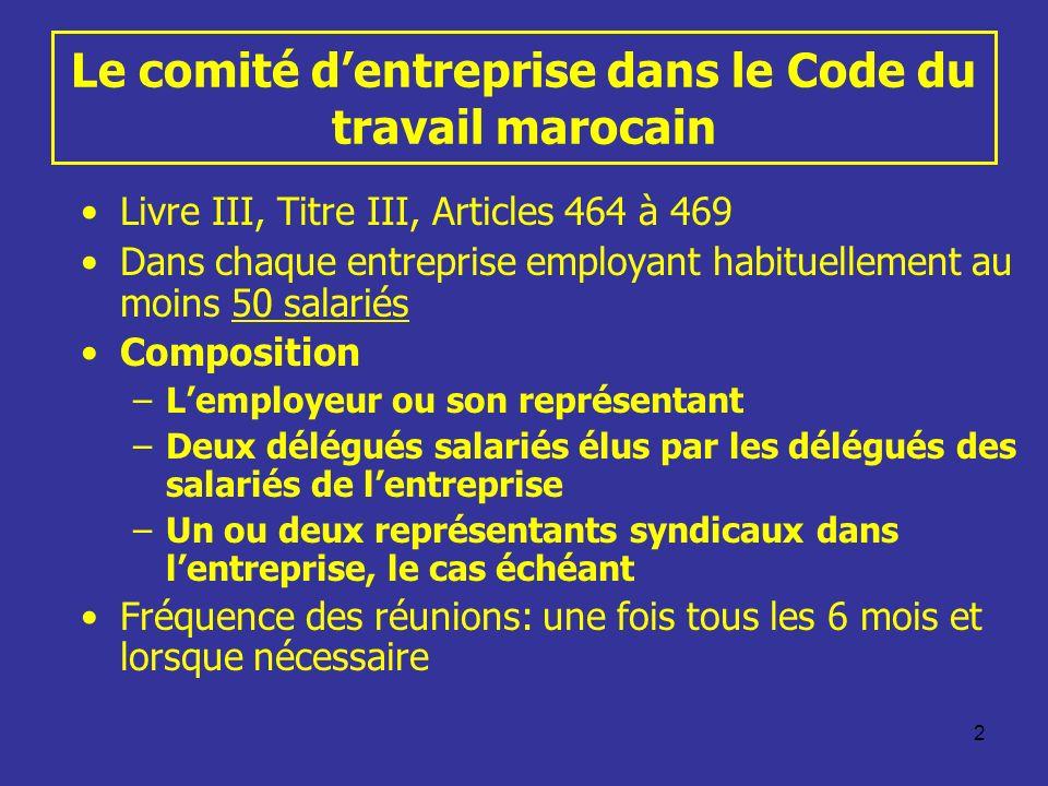 2 Le comité dentreprise dans le Code du travail marocain Livre III, Titre III, Articles 464 à 469 Dans chaque entreprise employant habituellement au m