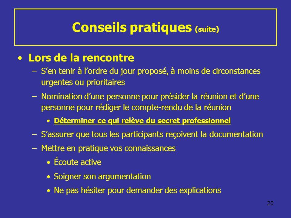 20 Conseils pratiques (suite) Lors de la rencontre –Sen tenir à lordre du jour proposé, à moins de circonstances urgentes ou prioritaires –Nomination