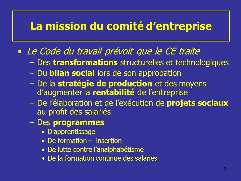 3 La mission du comité dentreprise Le Code du travail prévoit que le CE traite –Des transformations structurelles et technologiques –Du bilan social l