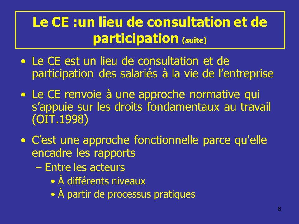 6 Le CE :un lieu de consultation et de participation (suite) Le CE est un lieu de consultation et de participation des salariés à la vie de lentrepris