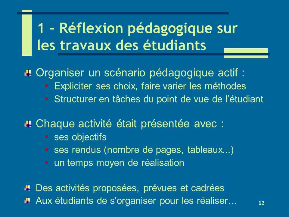 12 1 – Réflexion pédagogique sur les travaux des étudiants Organiser un scénario pédagogique actif : Expliciter ses choix, faire varier les méthodes S
