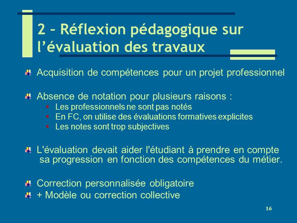 16 2 – Réflexion pédagogique sur lévaluation des travaux Acquisition de compétences pour un projet professionnel Absence de notation pour plusieurs ra