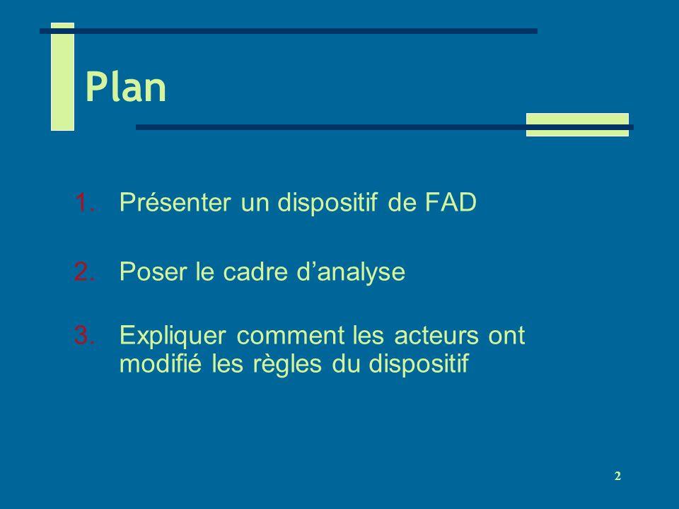 2 Plan 1.Présenter un dispositif de FAD 2.Poser le cadre danalyse 3.Expliquer comment les acteurs ont modifié les règles du dispositif