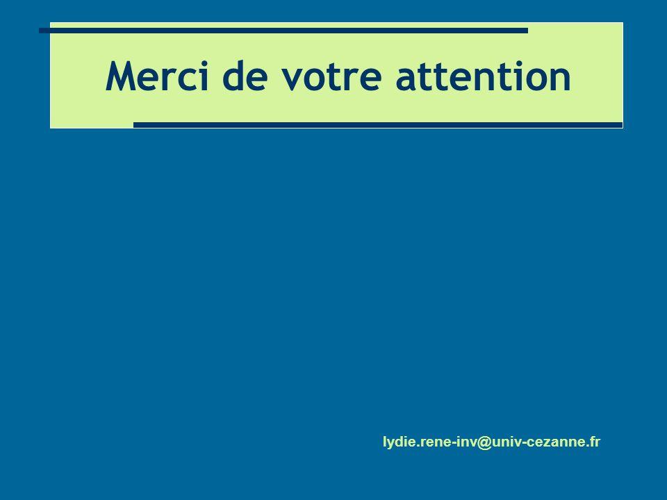 Merci de votre attention lydie.rene-inv@univ-cezanne.fr