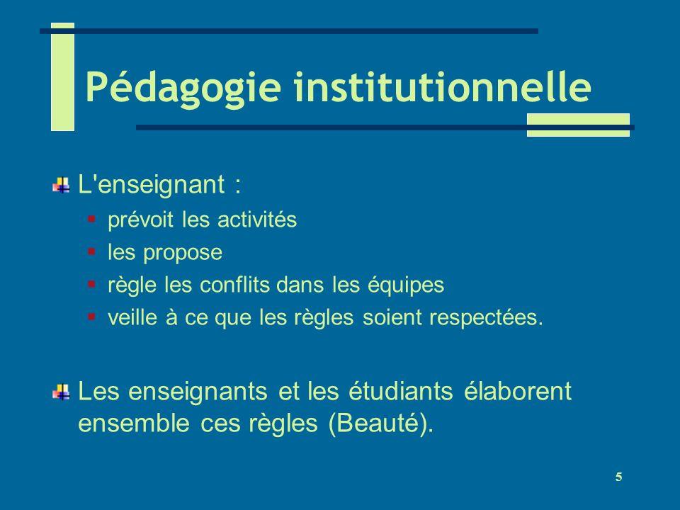 5 Pédagogie institutionnelle L'enseignant : prévoit les activités les propose règle les conflits dans les équipes veille à ce que les règles soient re