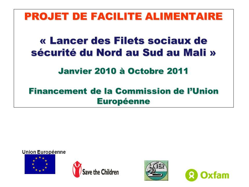 PROJET DE FACILITE ALIMENTAIRE « Lancer des Filets sociaux de sécurité du Nord au Sud au Mali » Janvier 2010 à Octobre 2011 Financement de la Commissi