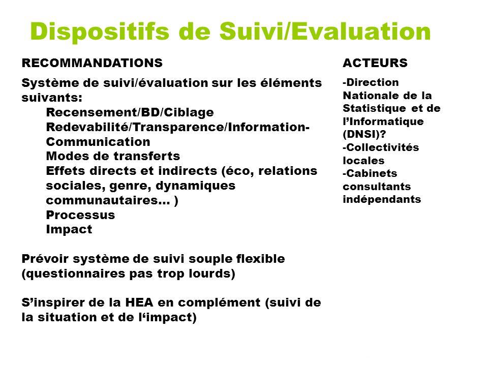 Dispositifs de Suivi/Evaluation RECOMMANDATIONSACTEURS Système de suivi/évaluation sur les éléments suivants: Recensement/BD/Ciblage Redevabilité/Tran