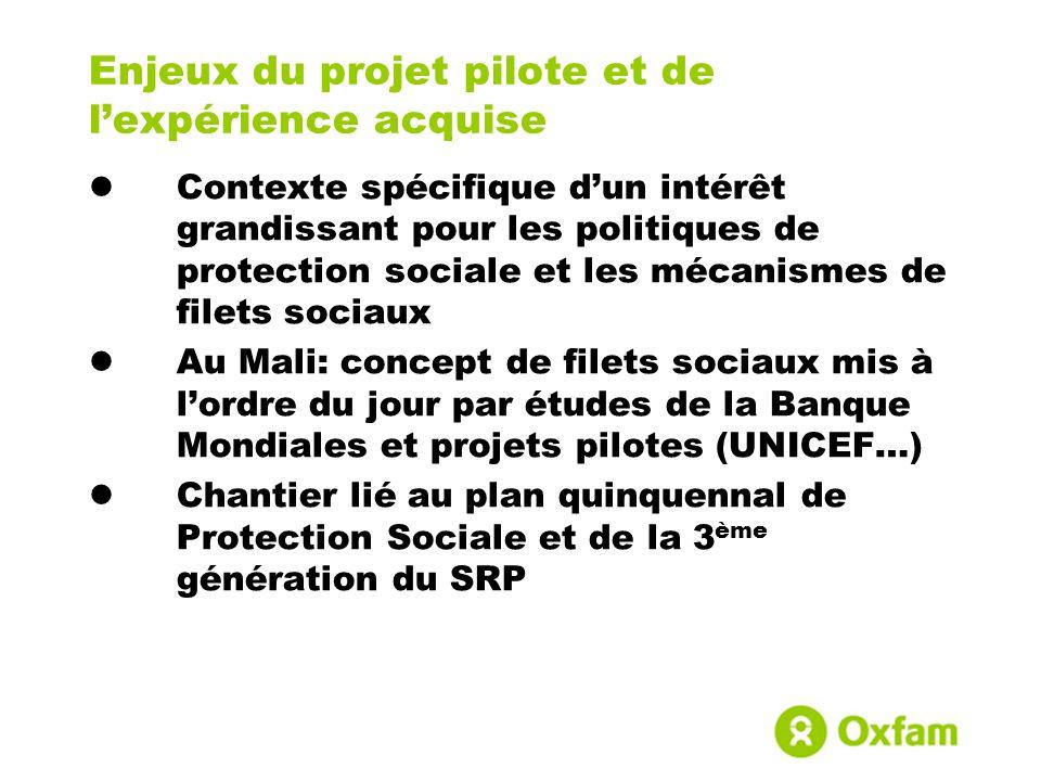 Enjeux du projet pilote et de lexpérience acquise Contexte spécifique dun intérêt grandissant pour les politiques de protection sociale et les mécanis