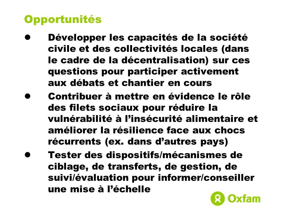 Opportunités Développer les capacités de la société civile et des collectivités locales (dans le cadre de la décentralisation) sur ces questions pour