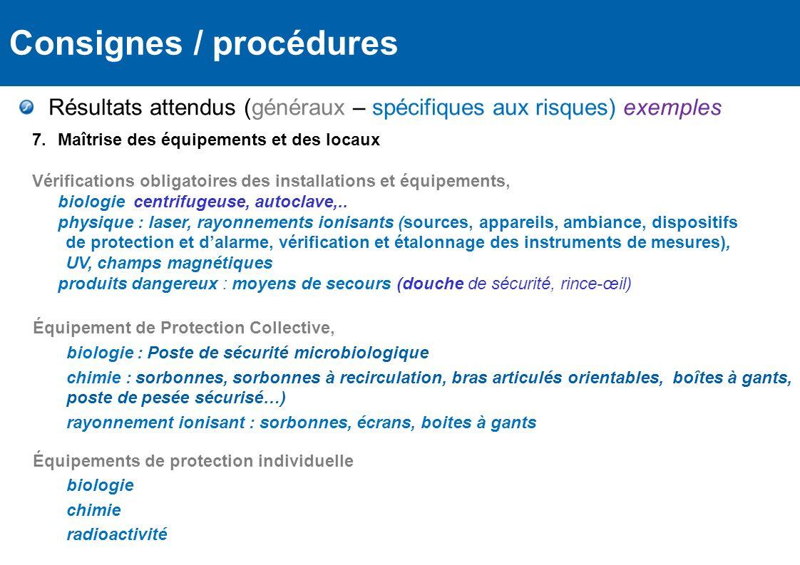 Règlementation Équipement de Protection Collective, biologie : Poste de sécurité microbiologique chimie : sorbonnes, sorbonnes à recirculation, bras a