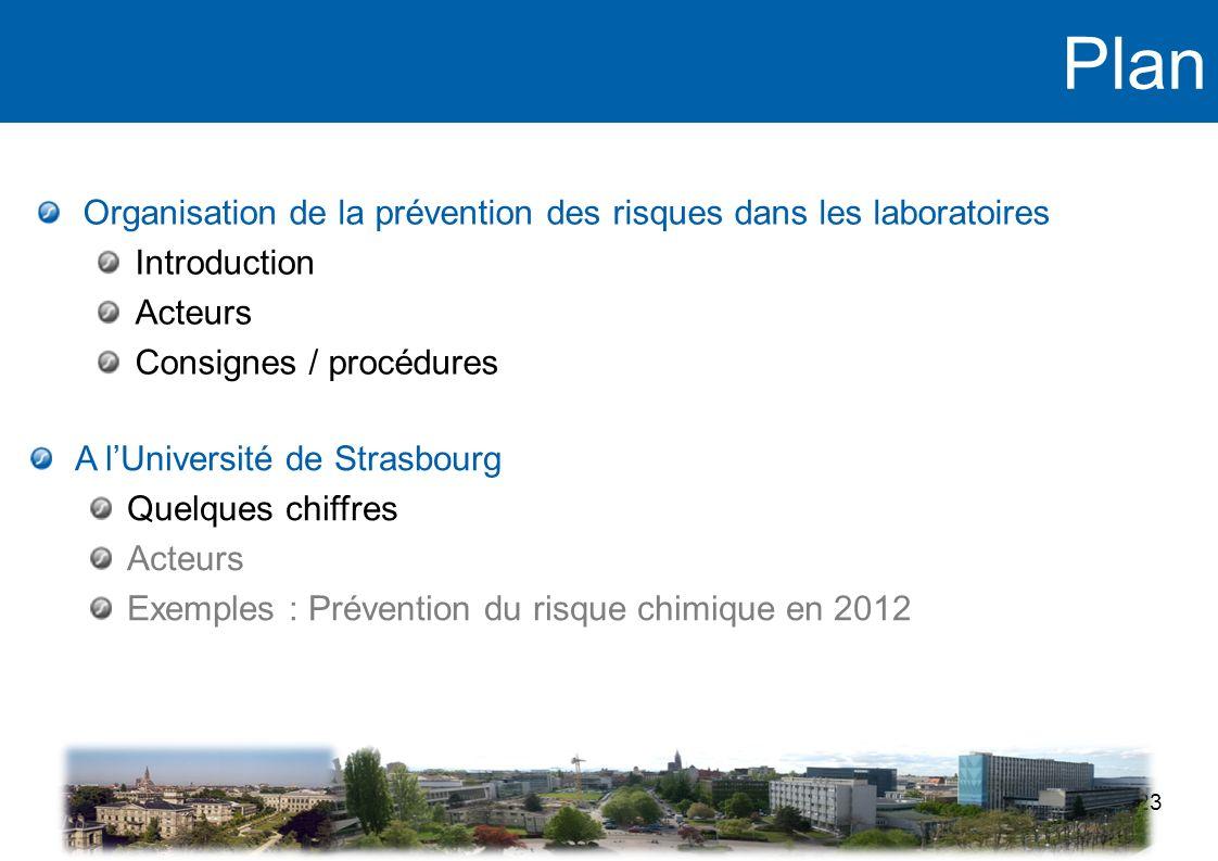 Plan 23 Organisation de la prévention des risques dans les laboratoires Introduction Acteurs Consignes / procédures A lUniversité de Strasbourg Quelqu