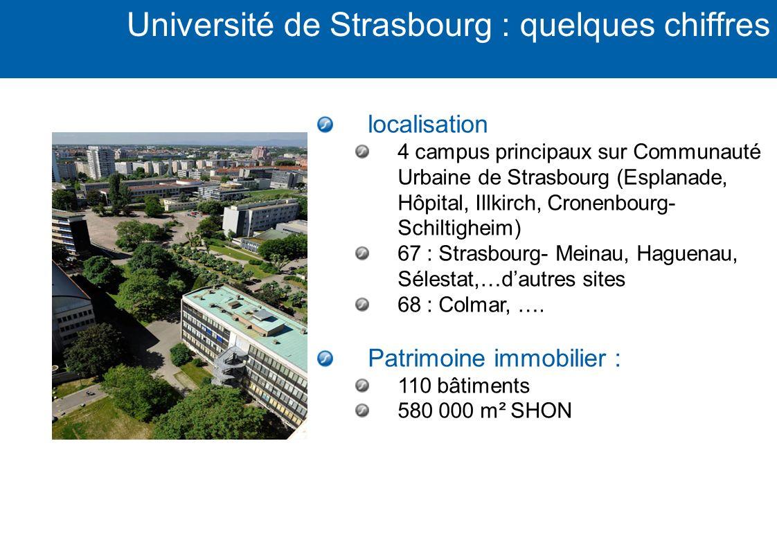 localisation 4 campus principaux sur Communauté Urbaine de Strasbourg (Esplanade, Hôpital, Illkirch, Cronenbourg- Schiltigheim) 67 : Strasbourg- Meina