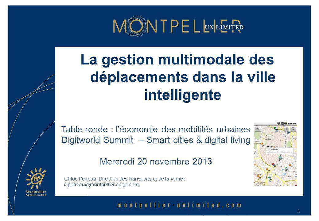 La gestion multimodale des déplacements dans la ville intelligente Chloé Perreau, Direction des Transports et de la Voirie : c.perreau@montpellier-agg