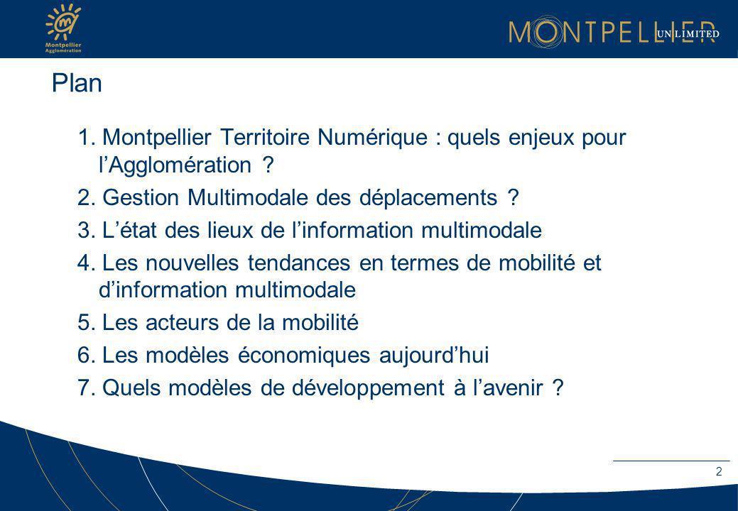 Plan 1. Montpellier Territoire Numérique : quels enjeux pour lAgglomération ? 2. Gestion Multimodale des déplacements ? 3. Létat des lieux de linforma