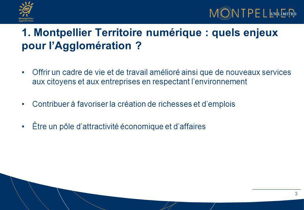 1. Montpellier Territoire numérique : quels enjeux pour lAgglomération ? Offrir un cadre de vie et de travail amélioré ainsi que de nouveaux services