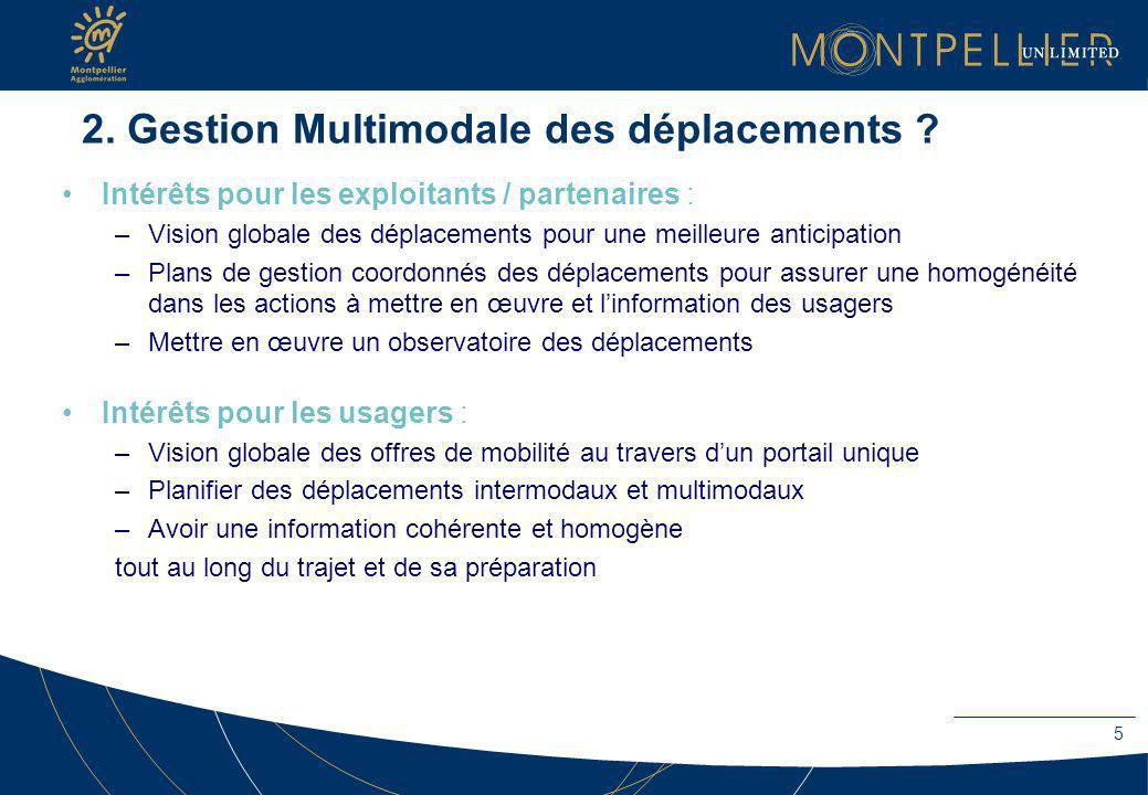2. Gestion Multimodale des déplacements ? Intérêts pour les exploitants / partenaires : –Vision globale des déplacements pour une meilleure anticipati