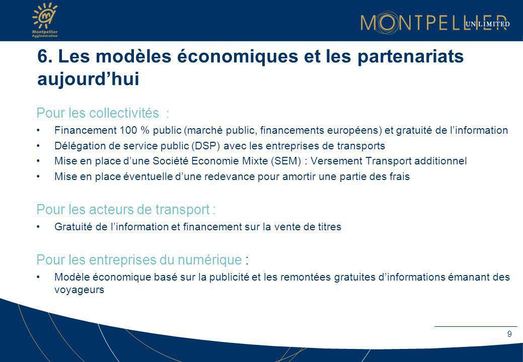6. Les modèles économiques et les partenariats aujourdhui Pour les collectivités : Financement 100 % public (marché public, financements européens) et