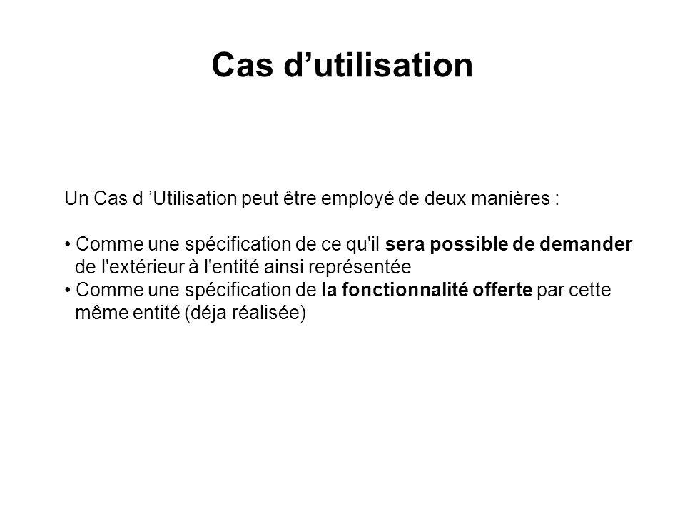 Cas dutilisation Un Cas d Utilisation peut être employé de deux manières : Comme une spécification de ce qu'il sera possible de demander de l'extérieu