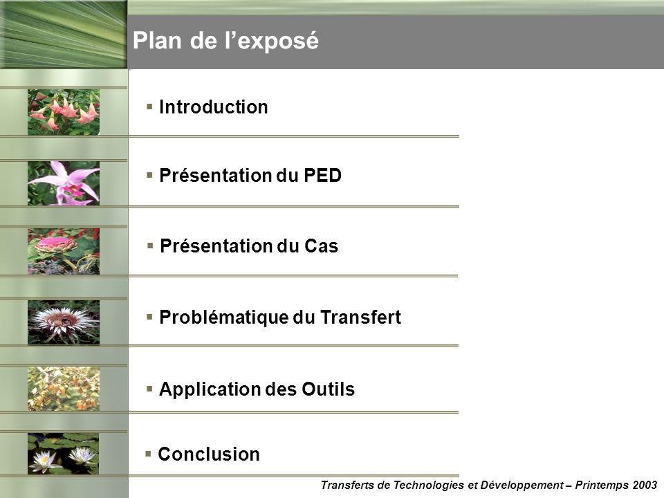 Plan de lexposé Transferts de Technologies et Développement – Printemps 2003 Présentation du PED Présentation du Cas Problématique du Transfert Applic