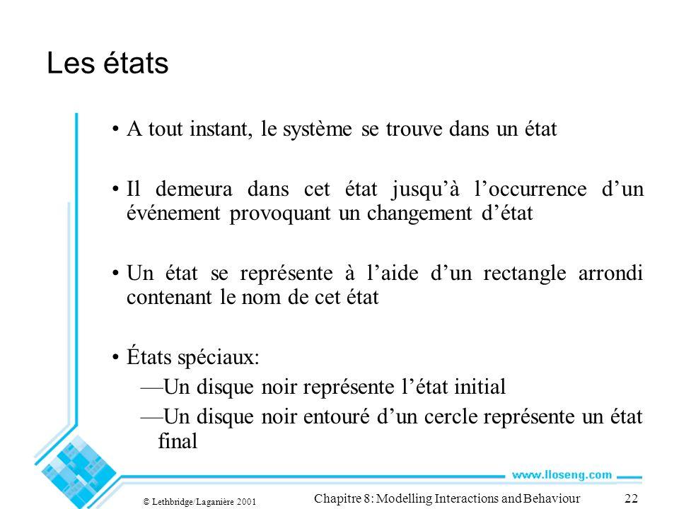 © Lethbridge/Laganière 2001 Chapitre 8: Modelling Interactions and Behaviour22 Les états A tout instant, le système se trouve dans un état Il demeura