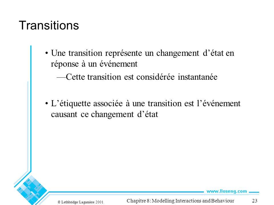 © Lethbridge/Laganière 2001 Chapitre 8: Modelling Interactions and Behaviour23 Transitions Une transition représente un changement détat en réponse à