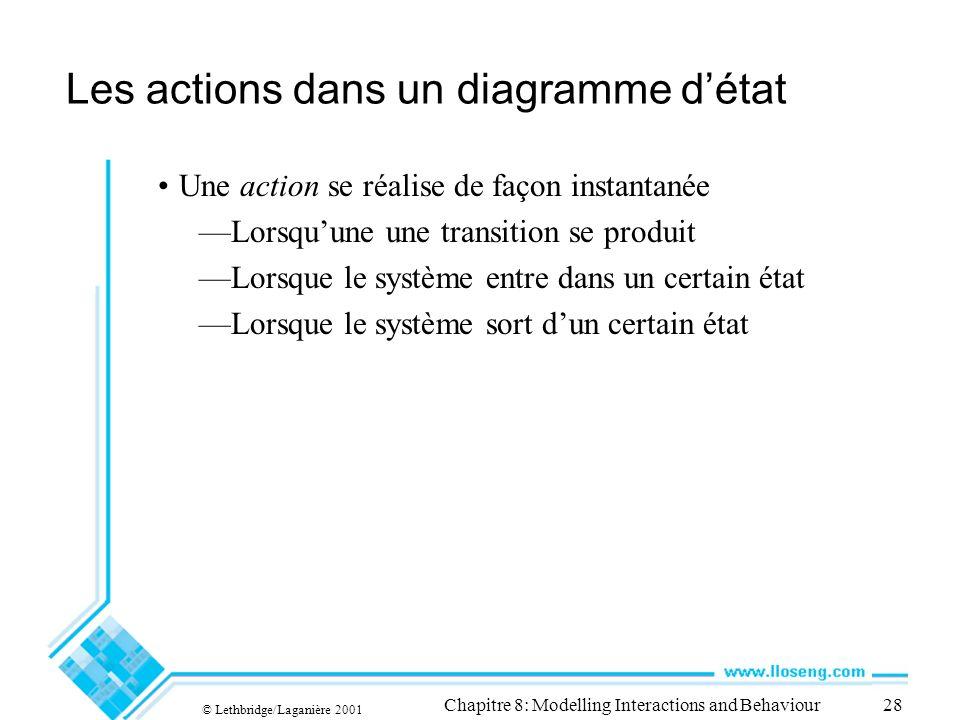 © Lethbridge/Laganière 2001 Chapitre 8: Modelling Interactions and Behaviour28 Les actions dans un diagramme détat Une action se réalise de façon inst