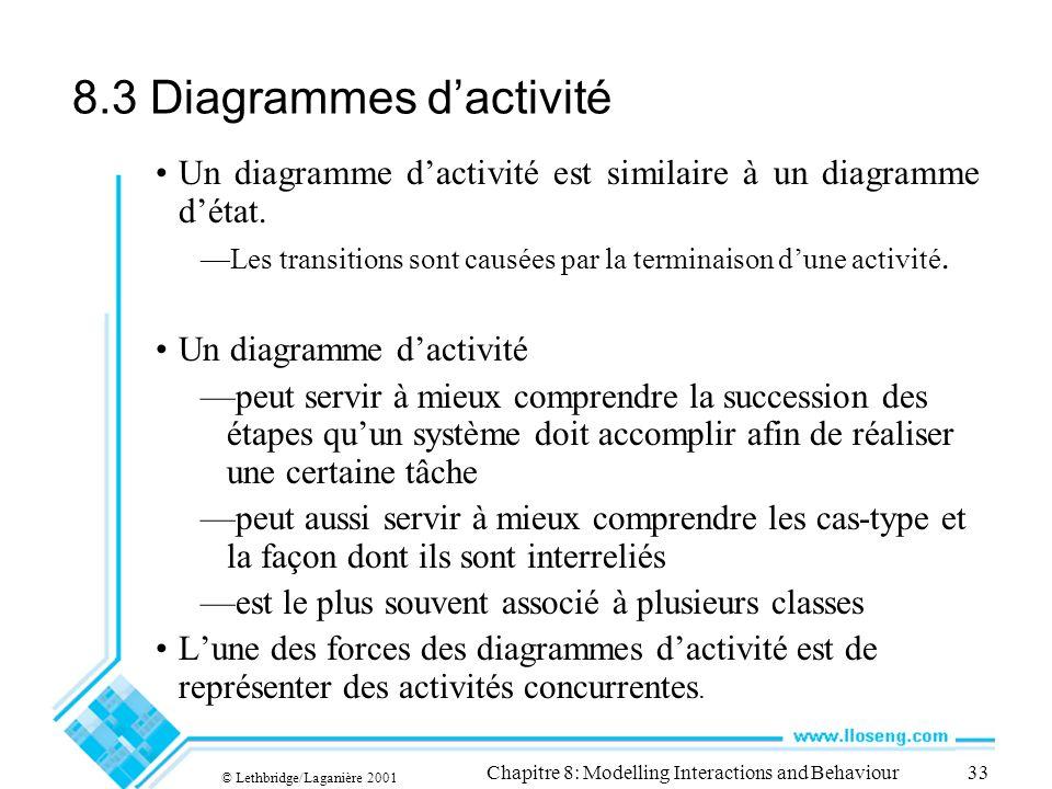 © Lethbridge/Laganière 2001 Chapitre 8: Modelling Interactions and Behaviour33 8.3 Diagrammes dactivité Un diagramme dactivité est similaire à un diag