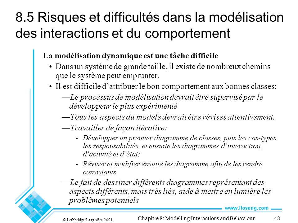 © Lethbridge/Laganière 2001 Chapitre 8: Modelling Interactions and Behaviour48 8.5 Risques et difficultés dans la modélisation des interactions et du