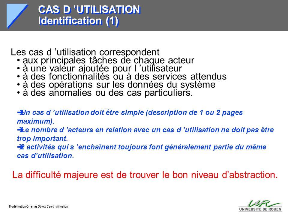 Modélisation Orientée Objet / Cas d utilisation CAS D UTILISATION Identification (1) Les cas d utilisation correspondent aux principales tâches de cha