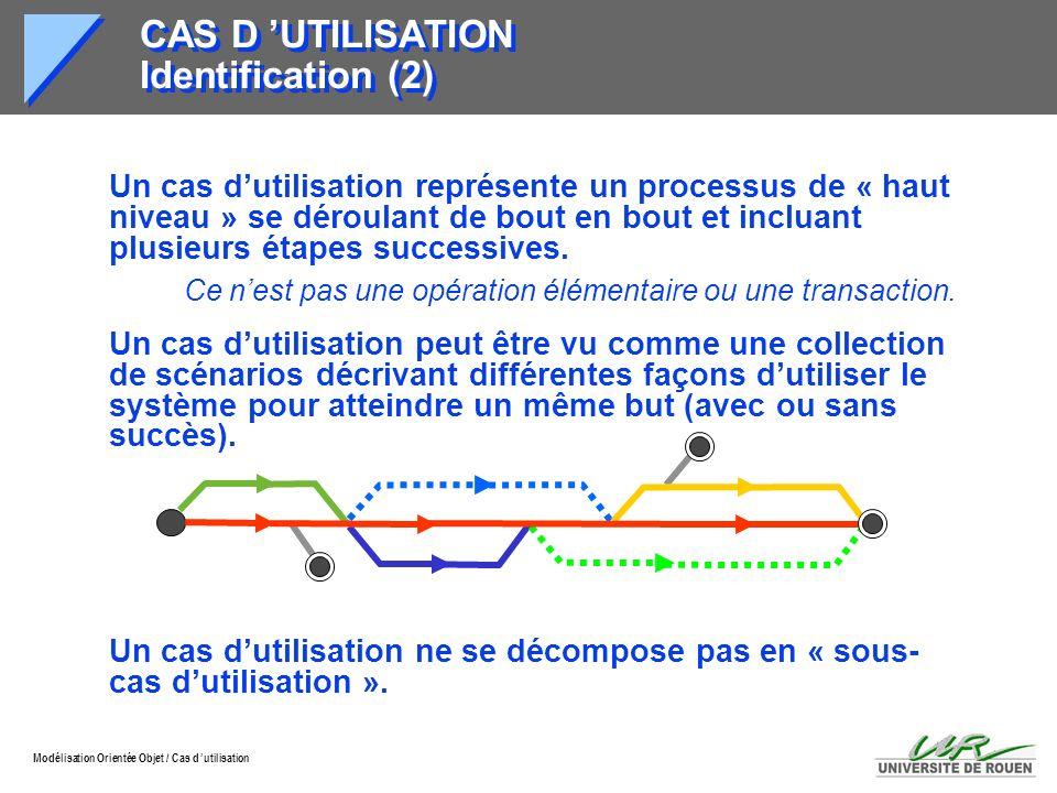 Modélisation Orientée Objet / Cas d utilisation CAS D UTILISATION Identification (2) Un cas dutilisation représente un processus de « haut niveau » se