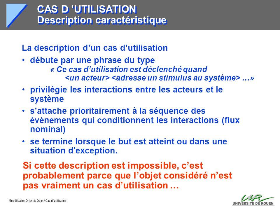 Modélisation Orientée Objet / Cas d utilisation CAS D UTILISATION Description caractéristique La description dun cas dutilisation débute par une phras