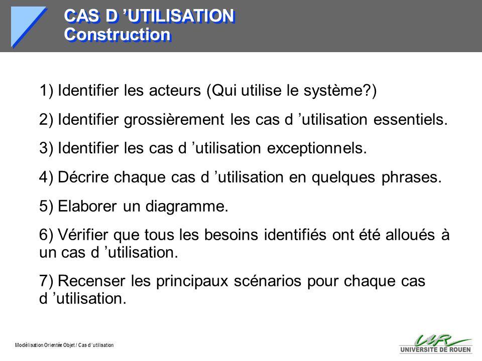 Modélisation Orientée Objet / Cas d utilisation CAS D UTILISATION Construction 1) Identifier les acteurs (Qui utilise le système?) 2) Identifier gross
