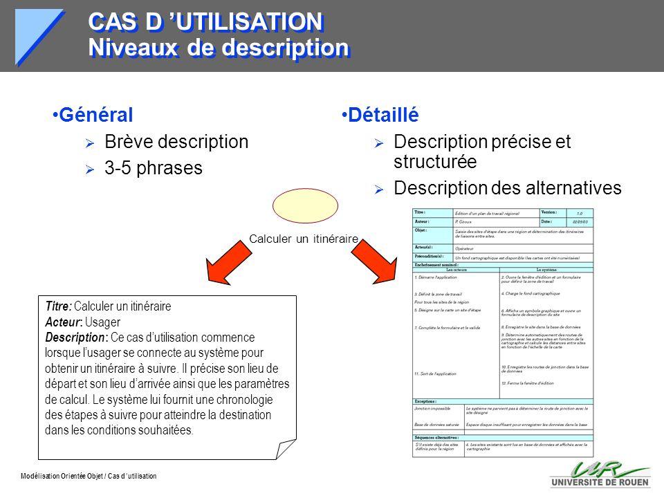Modélisation Orientée Objet / Cas d utilisation CAS D UTILISATION Niveaux de description Détaillé Description précise et structurée Description des al