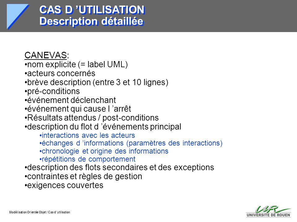 Modélisation Orientée Objet / Cas d utilisation CAS D UTILISATION Description détaillée CANEVAS: nom explicite (= label UML) acteurs concernés brève d