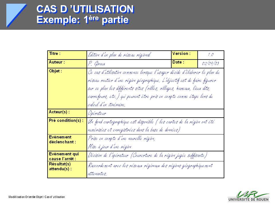 Modélisation Orientée Objet / Cas d utilisation CAS D UTILISATION Exemple: 1 ère partie
