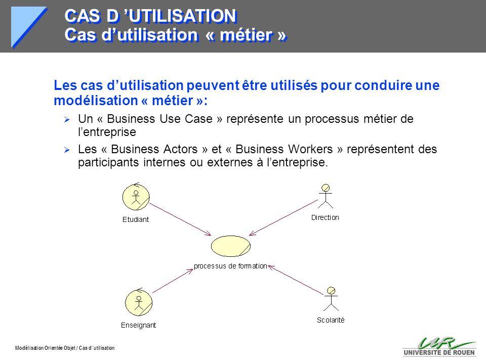 Modélisation Orientée Objet / Cas d utilisation CAS D UTILISATION Cas dutilisation « métier » Les cas dutilisation peuvent être utilisés pour conduire