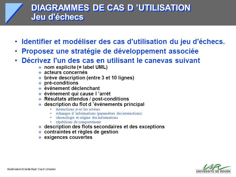Modélisation Orientée Objet / Cas d utilisation DIAGRAMMES DE CAS D UTILISATION Jeu d'échecs Identifier et modéliser des cas d'utilisation du jeu d'éc