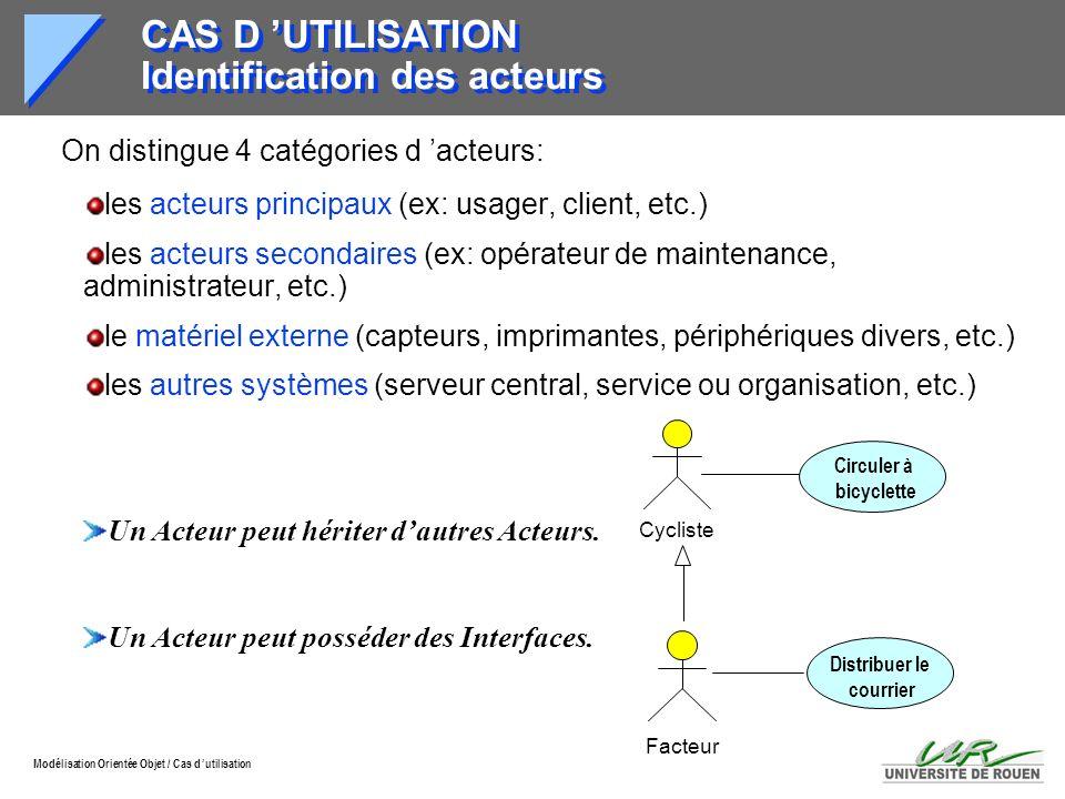 Modélisation Orientée Objet / Cas d utilisation CAS D UTILISATION Identification des acteurs On distingue 4 catégories d acteurs: les acteurs principa