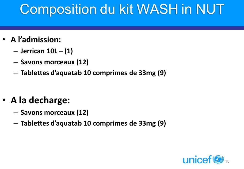 18 Composition du kit WASH in NUT A ladmission: – Jerrican 10L – (1) – Savons morceaux (12) – Tablettes daquatab 10 comprimes de 33mg (9) A la decharg