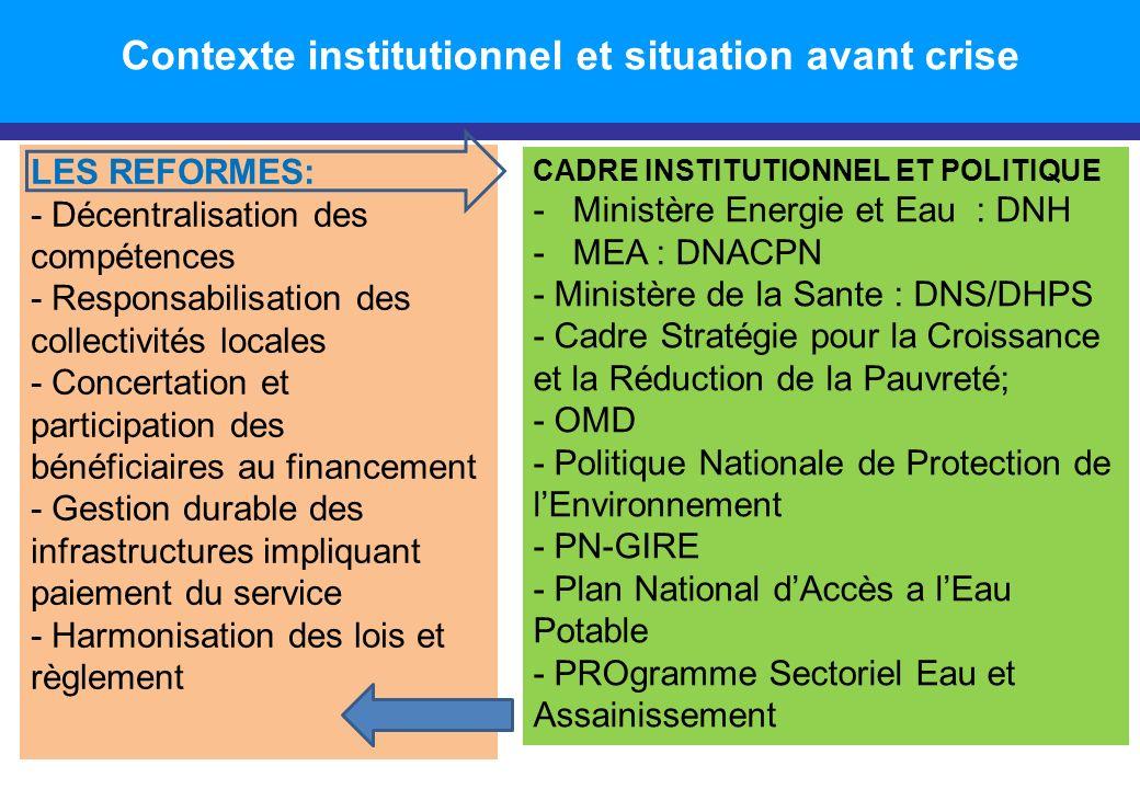 CADRE INSTITUTIONNEL ET POLITIQUE -Ministère Energie et Eau : DNH -MEA : DNACPN - Ministère de la Sante : DNS/DHPS - Cadre Stratégie pour la Croissanc