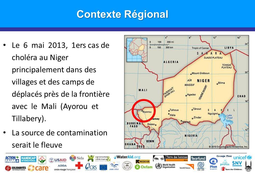 Groupe Pivot ADDA Introduction Contexte Régional Le 6 mai 2013, 1ers cas de choléra au Niger principalement dans des villages et des camps de déplacés