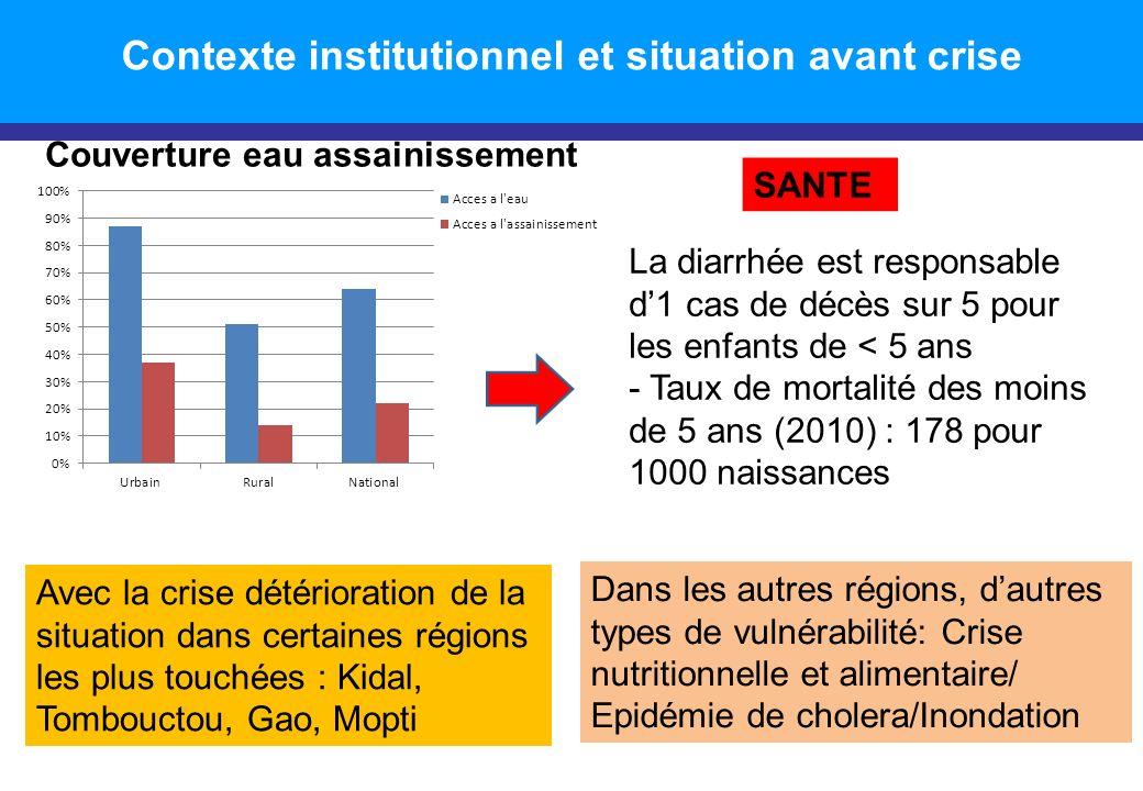 Introduction Couverture eau assainissement Avec la crise détérioration de la situation dans certaines régions les plus touchées : Kidal, Tombouctou, G