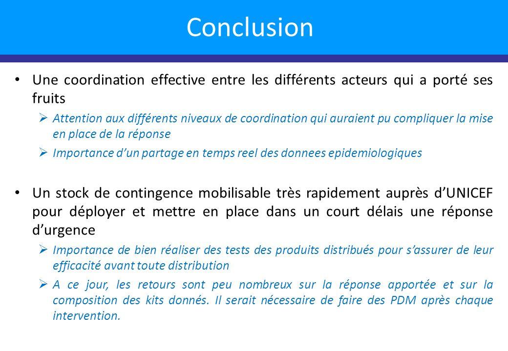 Une coordination effective entre les différents acteurs qui a porté ses fruits Attention aux différents niveaux de coordination qui auraient pu compli