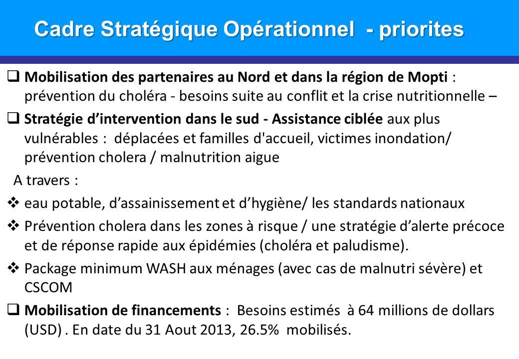 Introduction Cadre Stratégique Opérationnel - priorites Mobilisation des partenaires au Nord et dans la région de Mopti : prévention du choléra - beso