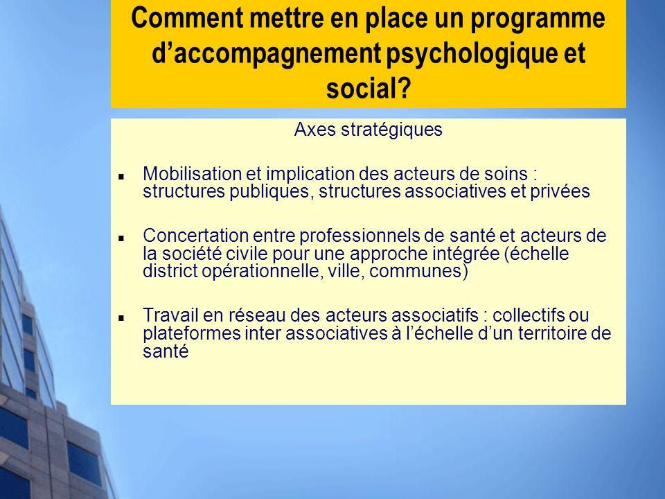 Comment mettre en place un programme daccompagnement psychologique et social? Axes stratégiques Mobilisation et implication des acteurs de soins : str