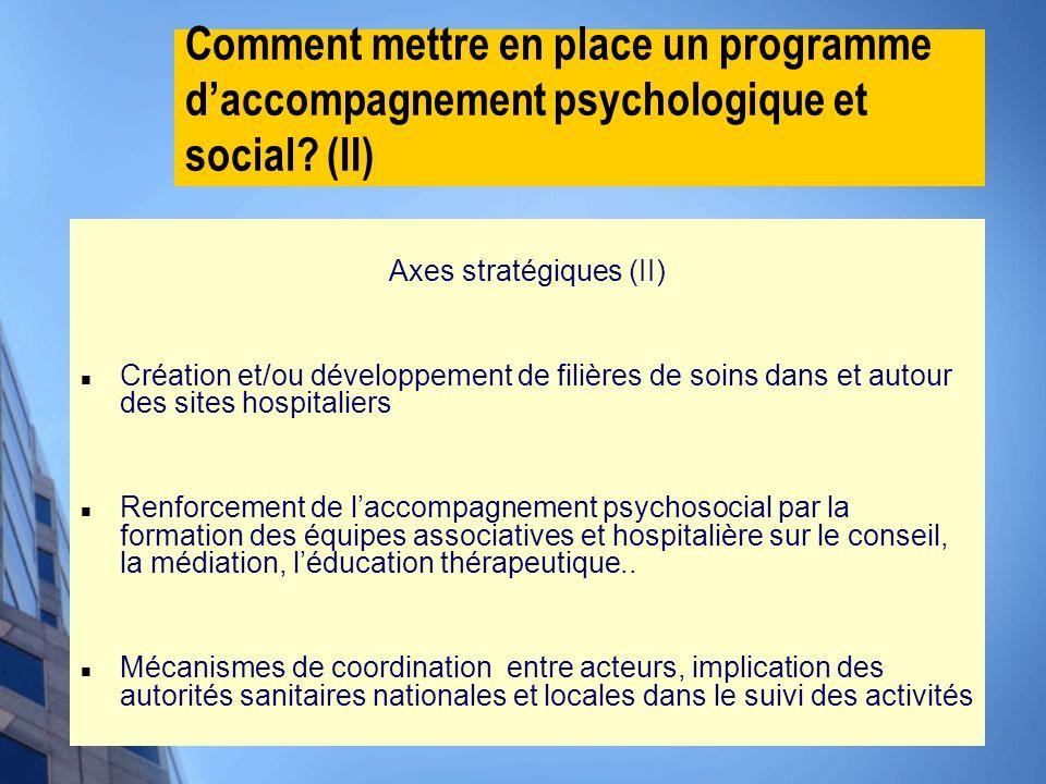 Comment mettre en place un programme daccompagnement psychologique et social? (II) Axes stratégiques (II) Création et/ou développement de filières de
