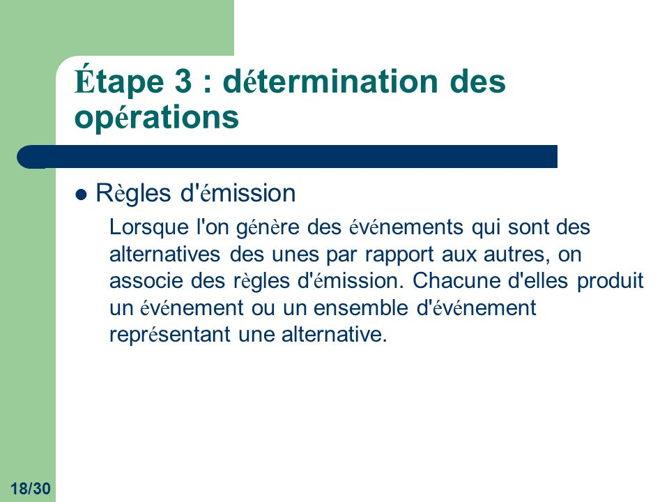 18/30 É tape 3 : d é termination des op é rations R è gles d é mission Lorsque l on g é n è re des é v é nements qui sont des alternatives des unes par rapport aux autres, on associe des r è gles d é mission.