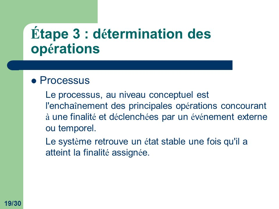 19/30 É tape 3 : d é termination des op é rations Processus Le processus, au niveau conceptuel est l'encha î nement des principales op é rations conco