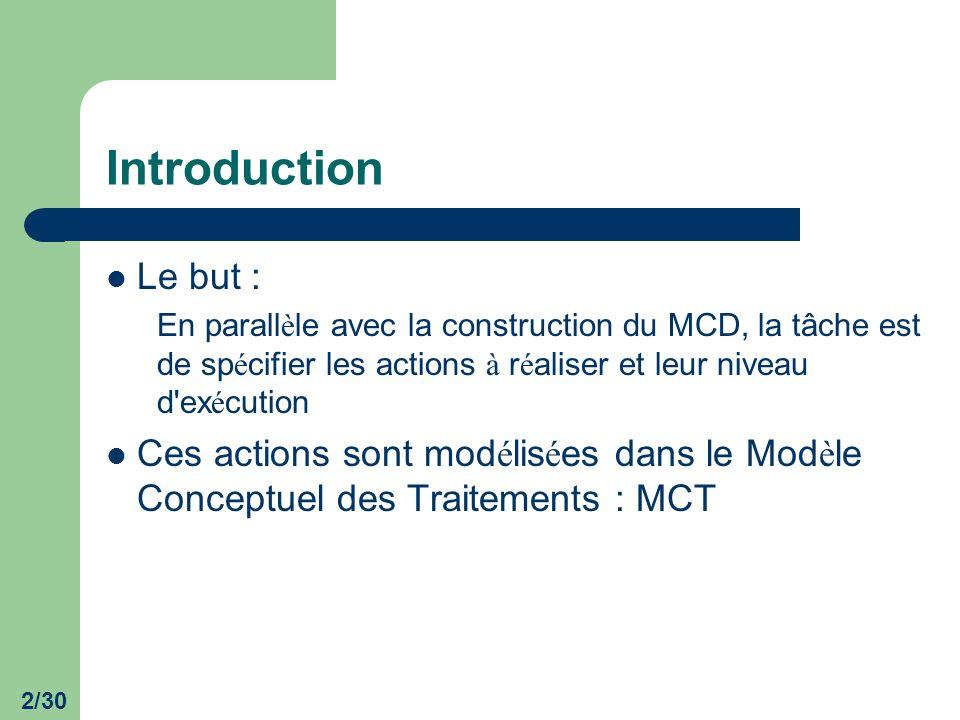 2/30 Introduction Le but : En parall è le avec la construction du MCD, la tâche est de sp é cifier les actions à r é aliser et leur niveau d'ex é cuti