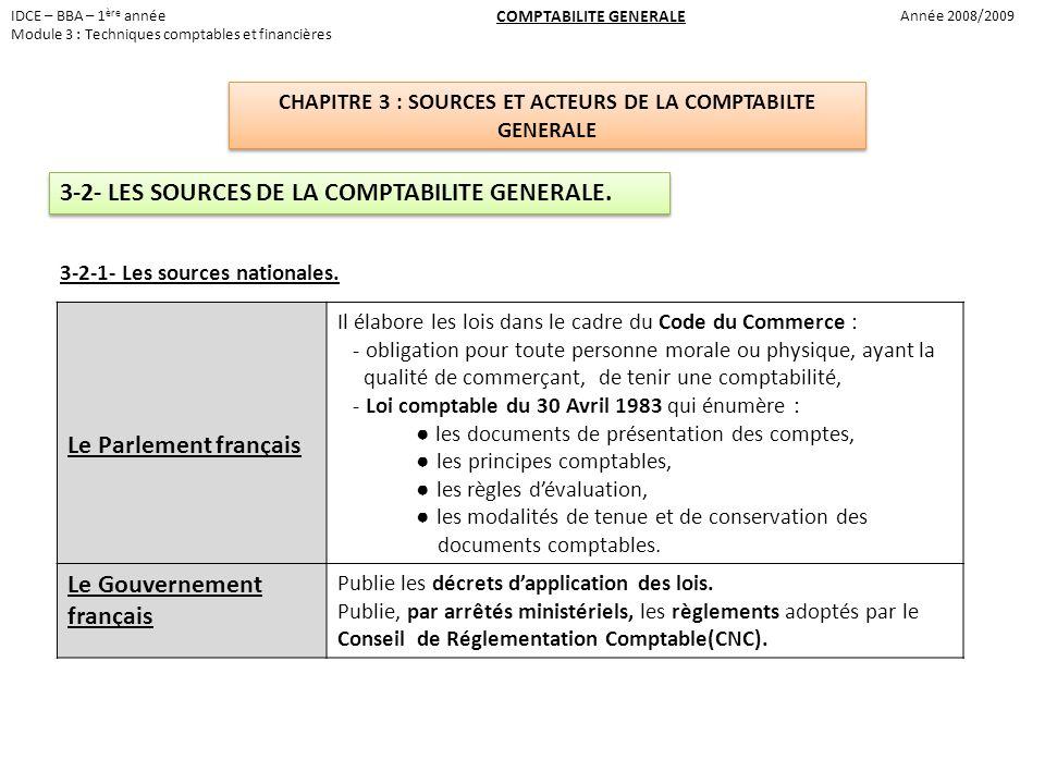 IDCE – BBA – 1 ère année Module 3 : Techniques comptables et financières Année 2008/2009 COMPTABILITE GENERALE CHAPITRE 3 : SOURCES ET ACTEURS DE LA C